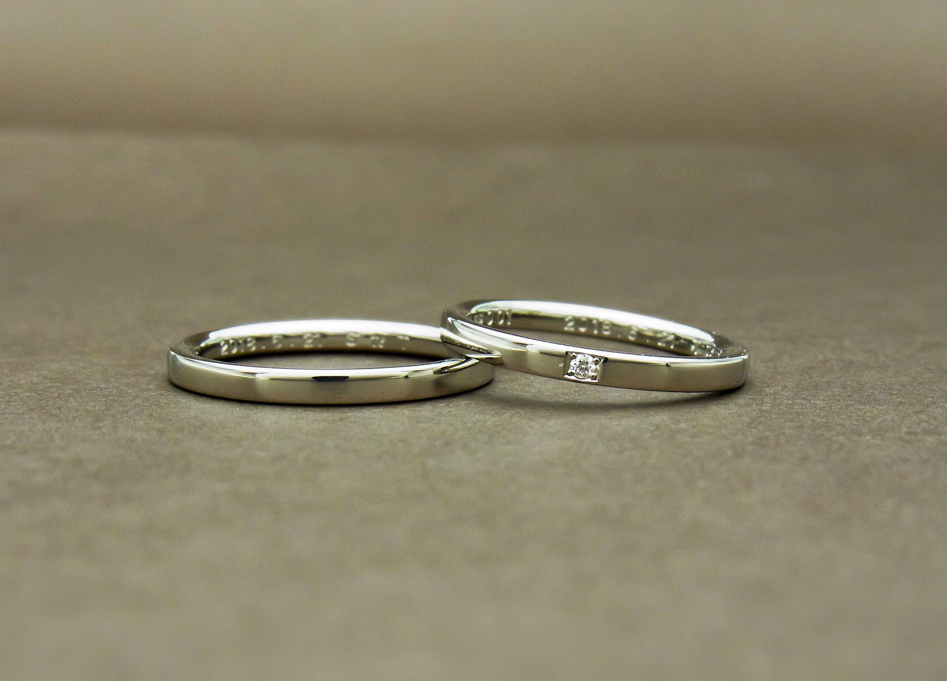 結婚指輪 ダイヤ1石
